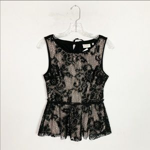 Anthropologie | black lace peplum hem tank top XS